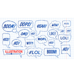 lol speech bubbles skech set fun symbol vector image