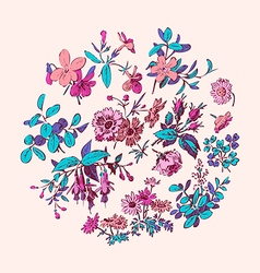 Meadow flower and leaf wreath isolated on pink vector