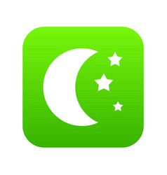 moon and stars icon digital green vector image