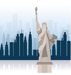 new york city statue of liberty scene vector image