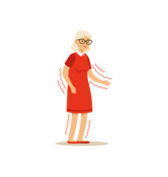 Old female character frail shaky arms unsteady vector