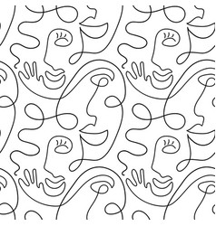 one line drawing abstract face seamless pattern vector image