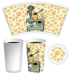 paper cup for hot drink with doodle still life vector image