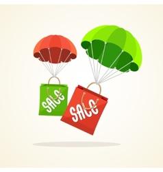 parachute with paper bag sale Flat Design vector image