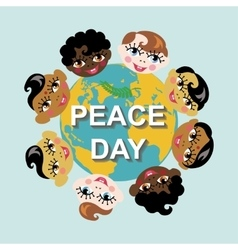 peace dayearth globechildren various nation vector image