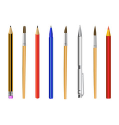 pencil pen brush isolated on white background vector image