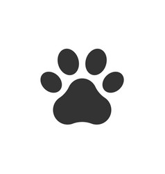 Pet paw print icon dog or cat foot black vector
