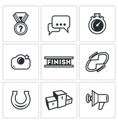 Photo finish icons vector