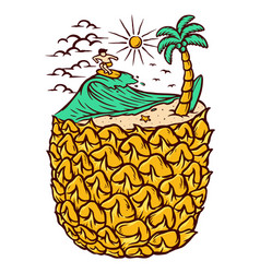 pineapple and beach vector image