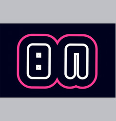 pink white blue alphabet combination letter bn b vector image
