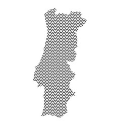 portugal map country abstract silhouette of wavy vector image