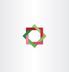 red green abstract square star tech logo business vector image