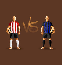 Red stripes and blue stripes soccer players vector
