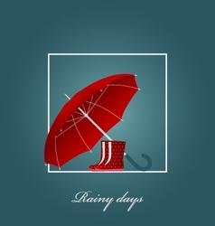 Red umbrella and bright boots on a rainy day vector image