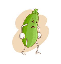 Sad emotional vegetable in cartoon style with vector