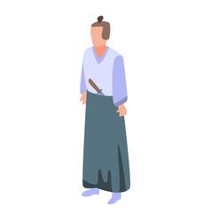 Samurai icon isometric style vector