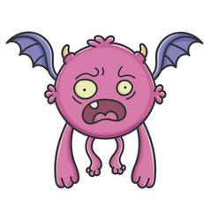 Scared purple flying cartoon bat monster vector