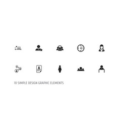 set of 10 editable job icons includes symbols vector image