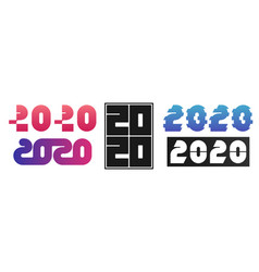 set of 2020 text design happy new year collection vector image