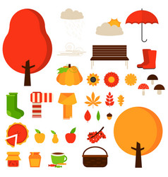 Set of autumn fall elements or symbols vector