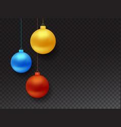 set realistic hanging christmas balls vector image