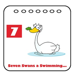 Seven swans swimming vector