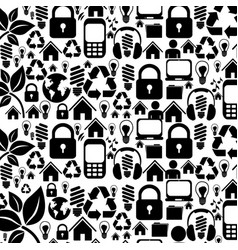 silhouette pattern with storage tech device vector image