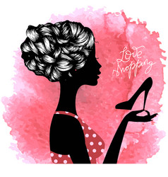 silhouette shopaholic girl vector image