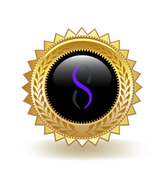 Singularitynet cryptocurrency coin gold badge vector