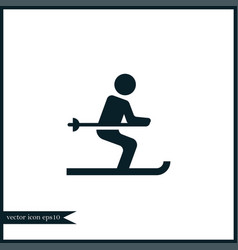 Ski icon simple vector