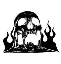 Skull that is melting black silhouette vector