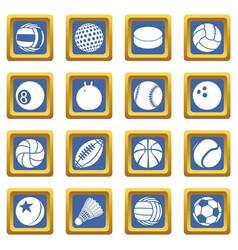sport balls icons set blue square vector image