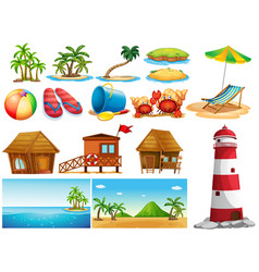 Summer theme with ocean and buildings vector