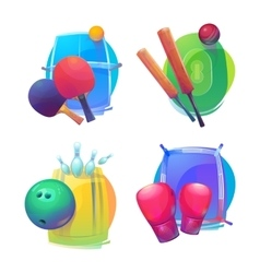 Tennis and cricket bowling boxing equipment vector image