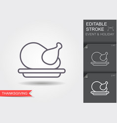 Thanksgiving turkey line icon with editable vector
