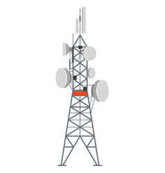 Tower station with dishes internet or phone vector