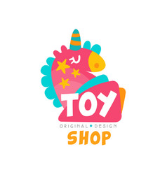 Toy shop logo design template kids store baby vector
