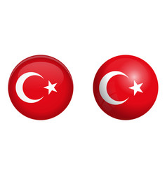 turkey flag under 3d dome button and on glossy vector image