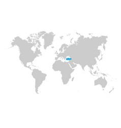 turkey map is highlighted in blue on world map vector image