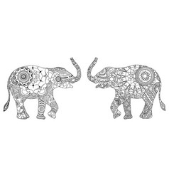 two decorated elephants vector image