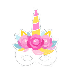 Unicorn mask photo booth prop birthday or slumber vector