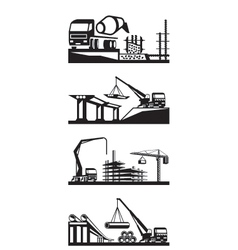 various types construction scenes vector image