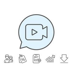 Video camera line icon movie or cinema sign vector