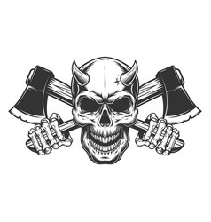 Vintage monochrome demon skull with horns vector