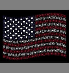 waving united states flag stylization of atom vector image