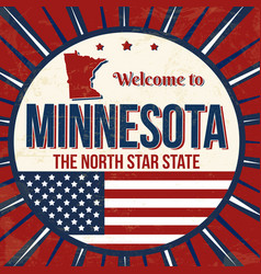 welcome to minnesota vintage grunge poster vector image