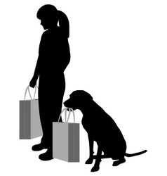 Woman and dog shopping vector