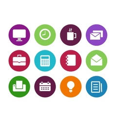 Business circle icons on white background vector image