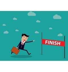 Businessman Run Cross Finish Line vector image