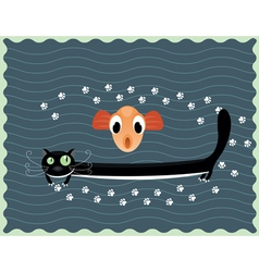 happy cat with fish vector image vector image
